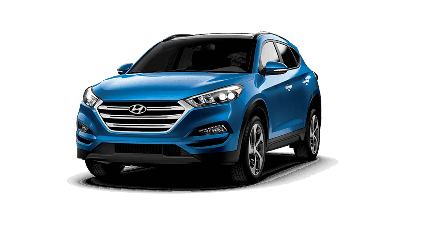 An electric blue Hyundai Tucson