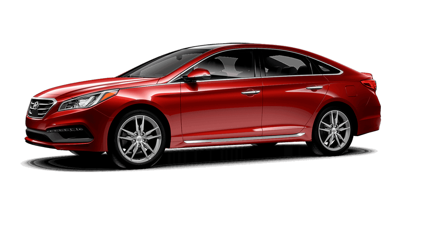 A red Hyundai Sonata
