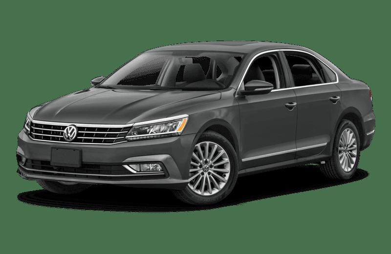 A dark gray Volkswagen Passat
